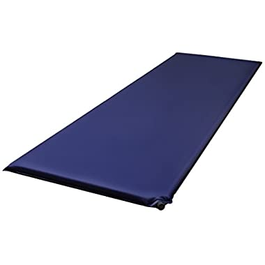 BalanceFrom Lightweight Self-Inflating Sleeping Air Pad with Carrying Bag & Strap, Navy, Regular