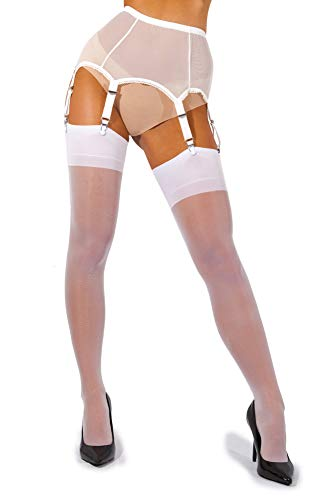 (sofsy Sheer Thigh High Stockings for Women's Garter Belt/Suspender Belt | 15 Den [Made in Italy] (Garter Belt Not Included) - White - Small)