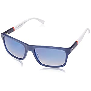 Tommy Hilfiger Th1405s Rectangular Sunglasses, Blue Red White/Flash Blue Sky, 56 mm