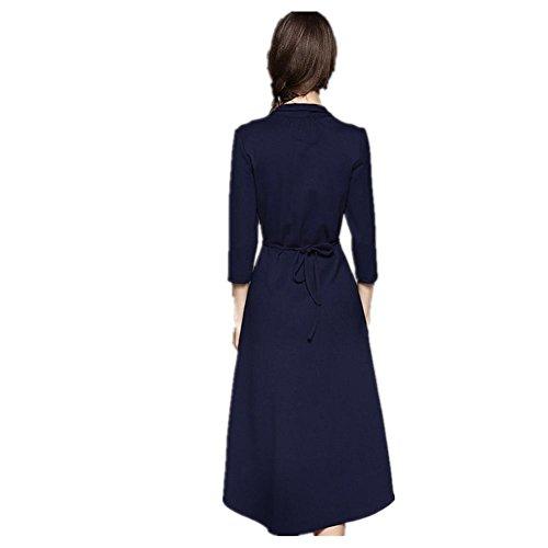 sottile 's nuova Abito navy blue delle La Spilla Pearl temperamento donne lungo CUaqxnw6