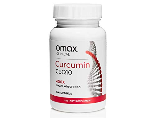 Omax Curcumin CoQ10 Softgel Supplement 100 MG CuQ10, 400X Bioavailable vs 95 Curcumin Supplements, Antioxidant, Anti-Inflammatory, Joint Pain, Heart Health, 60 Softgel
