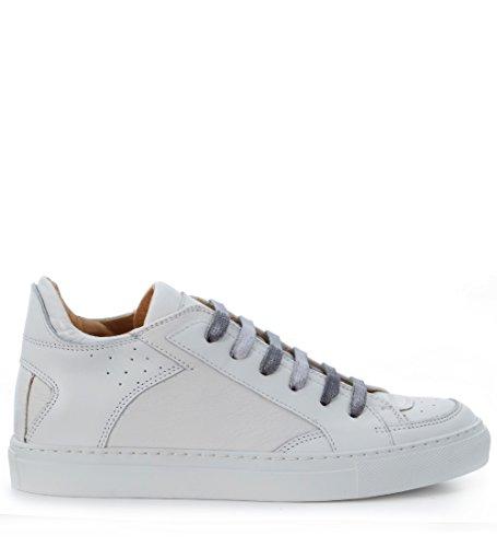 MM6 Maison Margiela Women's Logo Low Top Sneaker White Nappa Leather Sneaker 39 (US Women's 9) - Margiela Maison Logo