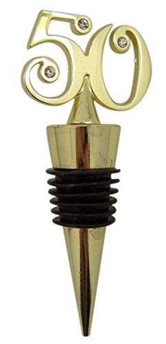 Gold Toned Metal 50 Charm Top Wine Bottle Stopper, 3 1/2 Inch - Anniversary Wine Bottle Stopper