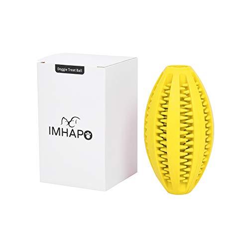 IMHAPO 개 치료 장난감 공 대화 형 퍼즐 공 치아 젖니가 남 럭비 모양의 IQ 훈련 공 음식 분배 장난감 대형 노란색