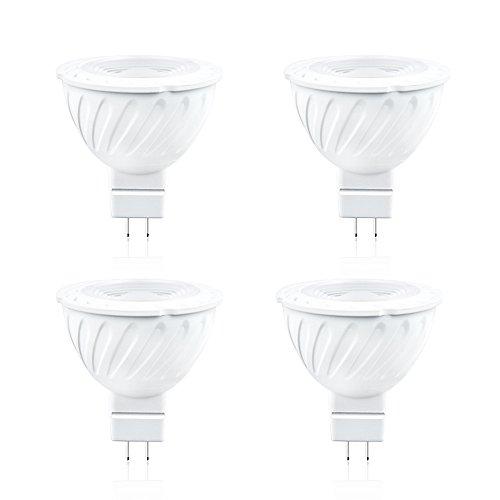 Luxvista MR16 GU5.3 LED Light Bulb, 12V LED GU5.3 Bi-pin Base Track Lighting for Kitchen, Living Room, Bedroom, Reflector Light, Retail Display, Warm White 3000K (4-Pack)