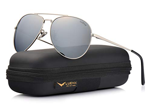 Sunglasses Police Designer - LUENX Sunglasses Aviator Polarized for Men & Women with Case - 400 UV Silver Lens Metal Gloss Silver Frame Colored 60mm