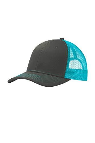 Port Authority Men's Snapback Trucker Cap, Grey Steel/Neon Blue, One Size