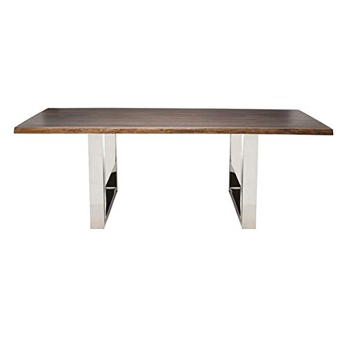 """96"""" Conference Table with Solid Oak Top and Stainless Steel Base"""