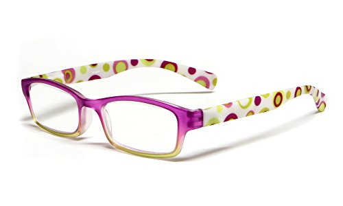 Calabria Hannah Designer Reading Glasses in Pink & Yellow ;