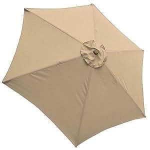 JTW 9ft al aire libre impermeable color anti-fade Patio paraguas de repuesto toldo de poliéster Top para 6costillas mercado UV Blocking marrón funda