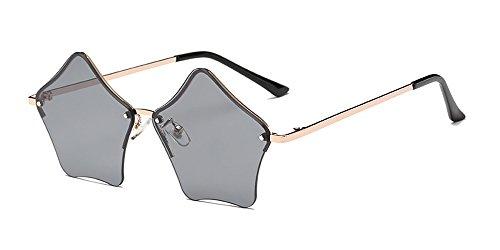 Design Noir Femmes Non ZEVONDA lunettes la Forme à soleil d'étoile Gris polarisé Rétro de mode Or rwqp6qXY8