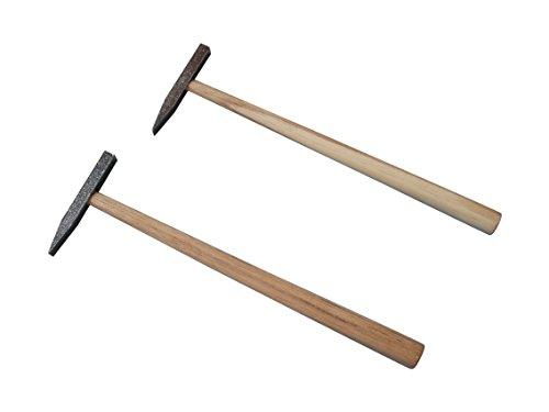 2-tlg. Set Fliesenhammer Hammer mit Holzstil 50 g und 75 g CV spitz