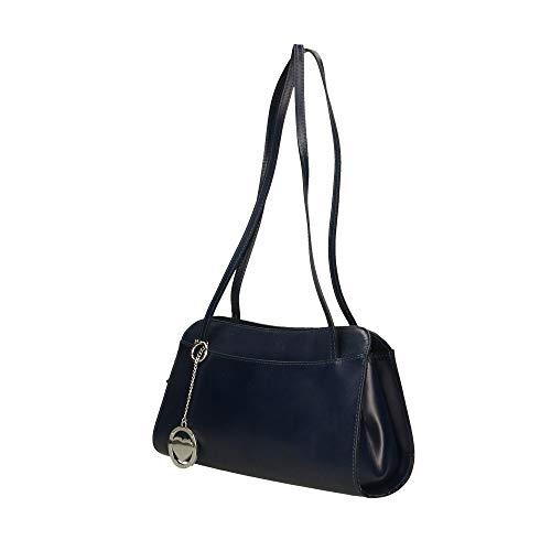 Made De Genuina Borse Azul Hombro Oscuro Piel 30x18x11 Chicca Cm En Italy Bolsa In EwRCqc0f