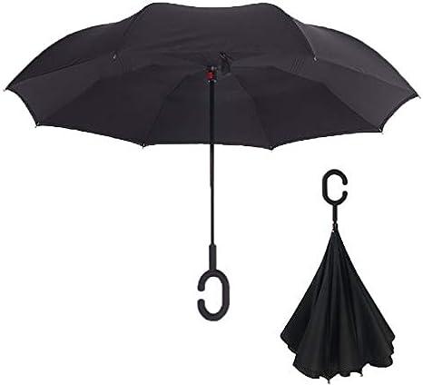Double Parapluie Invers/é Parapluie Ouvert Renvers/é Parapluie De Mode Vent Et Protection UV Grand Parapluie Droit pour La Pluie De Voiture C-Poign/ée
