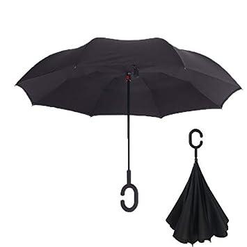 Paraguas invertido Indoostrial, elegante paraguas negro con ...