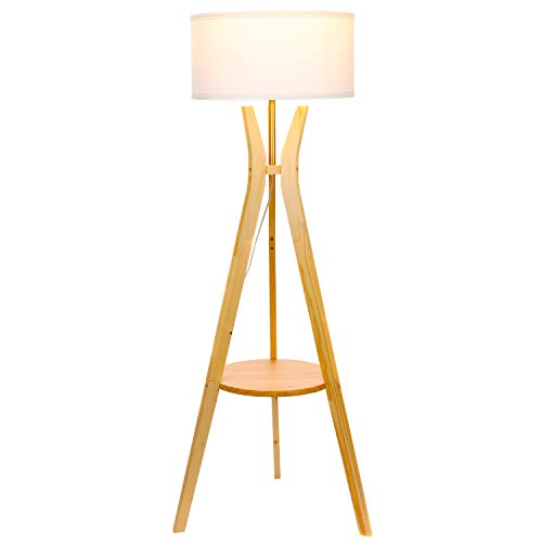 Designer Wood Classics (Brightech Charlotte LED Tripod Floor Lamp- Modern Design Standing Light with Shelf for Living Room, Bedrooms, Office, Den, Dorm- Classic Drum Shade – Natural Wood)