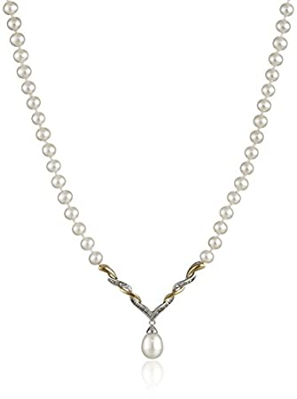 Sterling Silver Yellow Gold Diamond Pearl Necklace