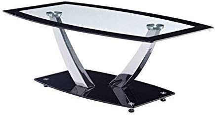 Global Furniture Clear Black Trim Occasional Coffee Table with Chrome Legs