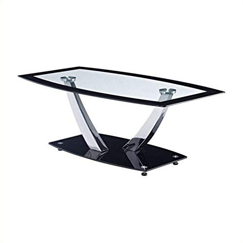 Dining Room Traditional Coffee Table - Global Furniture Clear/Black Trim Occasional Coffee Table with Chrome Legs