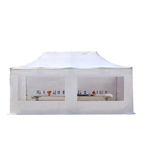 Faltpavillon Faltzelt Pavillon Klappzelt 4x8 m - ca. 500g/m² Plane + ca. 50mm Aluminiumgestänge - Zelt Partyzelt Gartenzelt Sonnenschutz Markstand Popup, mit 4 Seitenteilen (Panorama), weiß