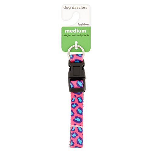 Leopard Print Collar, Medium, Pink/Blue (Color May Vary)