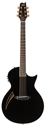ESP LTD TL-6 Thin Line 6-String Acoustic-Electric Guitar with Resonant Chamber, Black