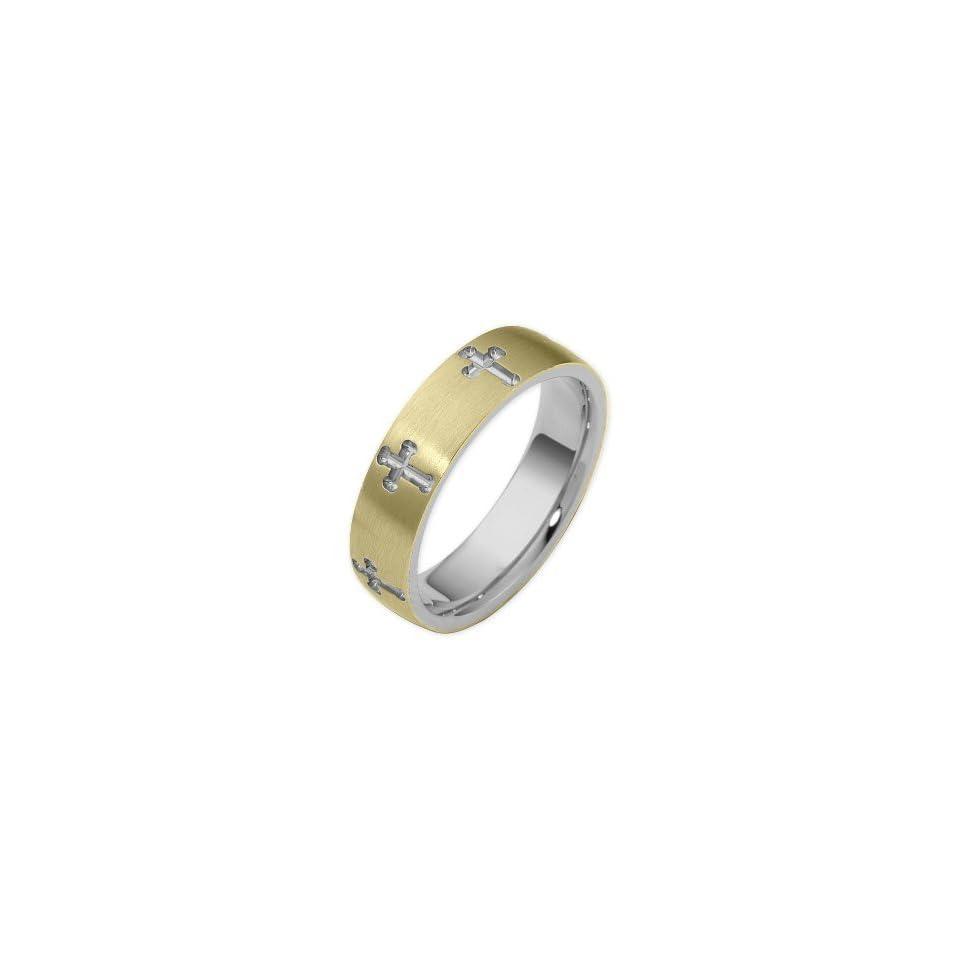 14 Karat Two Tone Gold Religious Multi Texture Cross Band Ring   6.25