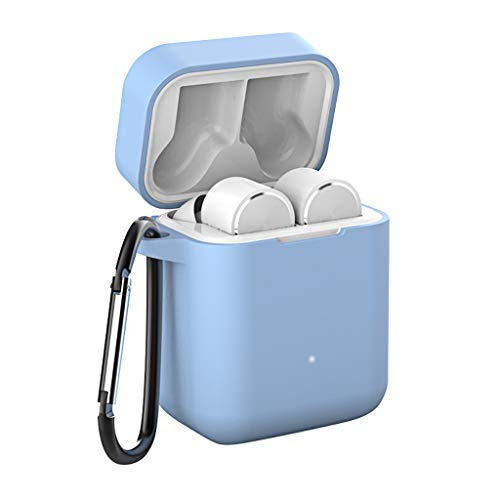 Sodoop Air Headphones Case, Protective Silicone Cover Skin with Keychain/Stap for Xiaomi Air Headphones Wireless Charging Case [Front LED Visible] ()