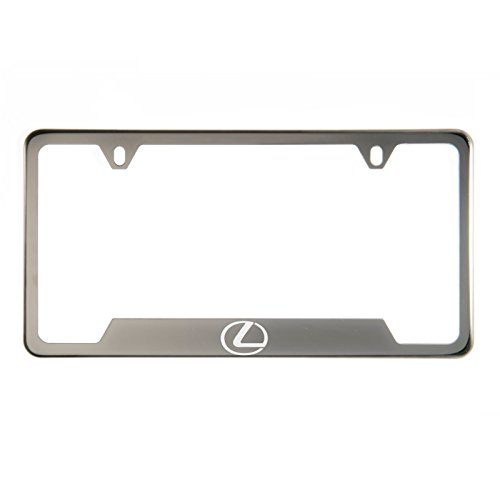 Circle Cool 1x Laser Etched Fit Lexus Logo on Gun Metal Black Chrome Titanium Bottom Cut Out Stainless Steel License Plate Frame Holder with Aluminum Screw Cap