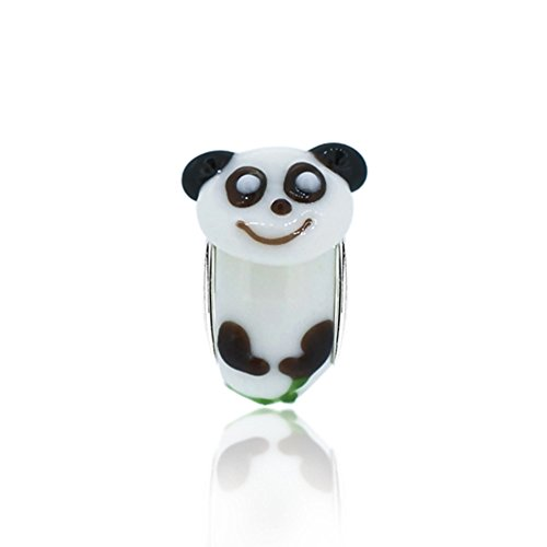 The Kiss Panda Bear Glass Animal Bead with 925 Sterling Silver Core Bead Fits European Charm - With Glasses Panda
