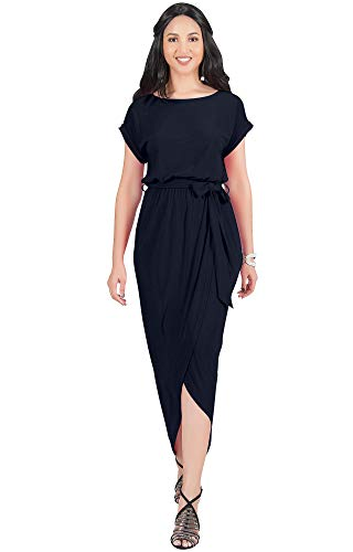 KOH KOH Womens Long Crewneck Casual Short Cap Sleeve Sexy Slit Split Pencil Skirt Beach Spring Summer Gown Gowns Solid Stretchy Modest Maxi Midi Dress Dresses, Navy Blue L 12-14