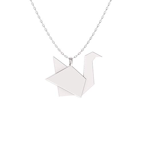 Diamondere Natural and Certified Origami Swan Necklace in 14k White Gold | Pendant with Chain ()