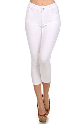 Yelete Womens Basic Solid Color Cotton Blend Capri Jeggings White Small