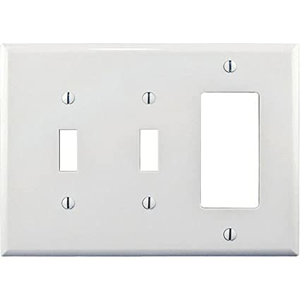 cooper wiring pj226w white mid size three gang combination two rh amazon com cooper wiring devices wall plate cooper wiring screwless wall plates