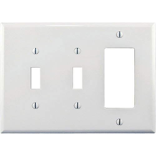 (Cooper Wiring PJ226W White Mid Size Three Gang Combination Two Toggle One Decorator Wall Plate, White)