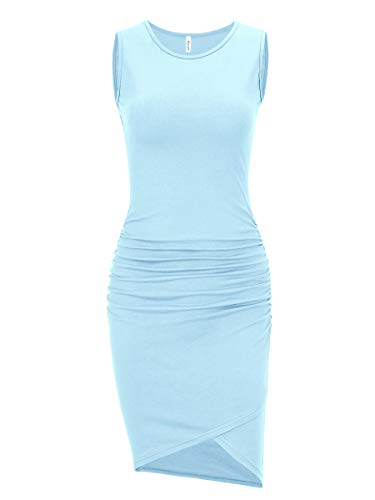 Women's Casual Long Sleeve Ruched Bodycon Sundress Irregular Sheath T Shirt Dress (Sleeveless Light Blue, Medium) -
