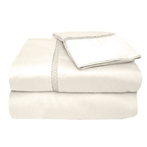 Veratex The Princeton Collection 800 Thread Count 100  Egyptian Cotton Sateen Bed Sheet Set With Elegant Stitch Hem Design  King Size  Ivory