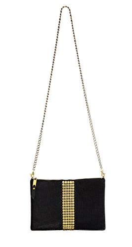 Mesh Metallic Evening Bag (Whiting & Davis Metal Mesh Brandy Shoulder/Crossbody Bag, Black/Gold, One Size)