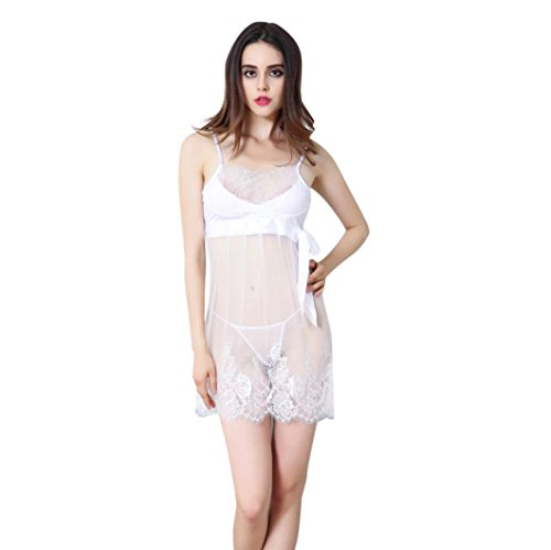 Sexy Lingerie,Start Women Lace Crochet Sling Translucent Babydoll Dress & G-string Set (Tag L, White)