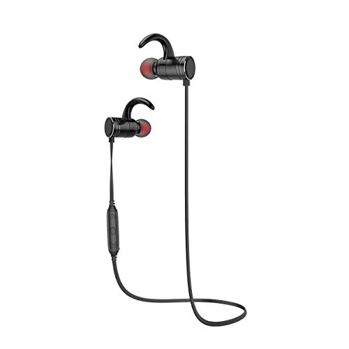 OLT Bluetooth Headphones Wireless Sports Earphones – Waterproof Earbuds – with Magnetic Connection Built-in Mic (Color : Black)