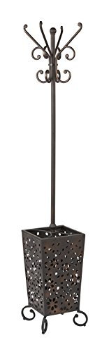 OSP Designs Middleton 12-Hook Coat Rack with Umbrella Stand Base, Antique Bronze