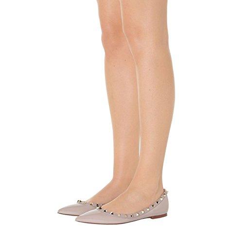 Merumote Womens Flats Met Dubbele Gespen Mode Sexy Klinknagels Rockstud Dagelijkse Puntige Teen Balletschoenen Abrikoos Zonder Bandjes
