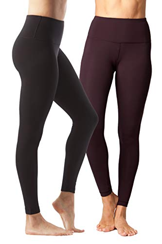 Yogalicious High Waist Ultra Soft Lightweight Leggings –  High Rise Yoga Pants – 2 Pack – Black and Fig Sugar – XL