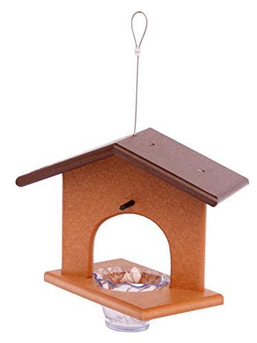 Amish-Made Oriole Bird Feeder, Eco-Friendly Poly-Wood Hanging Decorative Oriole Jelly Feeder (Brown/Cedar)