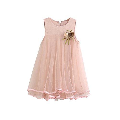 TIFENNY Clearance! Baby Girl Chiffon Dresses Sleeveless Drape Dress+Brooch Big Skirt Vest Plus Corsage Princess Dress (4T, Pink) (Drape Dress Skirt)
