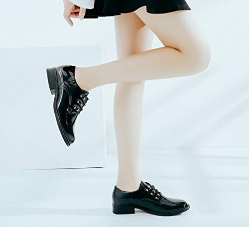 Ons Loafers Up Shoes Comfort Low Black Princess amp; Women's DANDANJIE Heel Shoes Lace Slip Black wxYtag