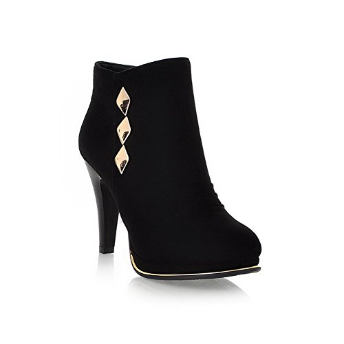 Amoonyfashion Mujeres Round Closed Toe High Heels Short Plush Suede Suede Botas Sólidas Con Glass Diamond Black