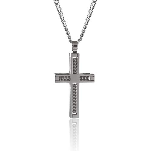 GL Creations Stingray Men's Stainless Steel Large Spring Cross Pendant on 20