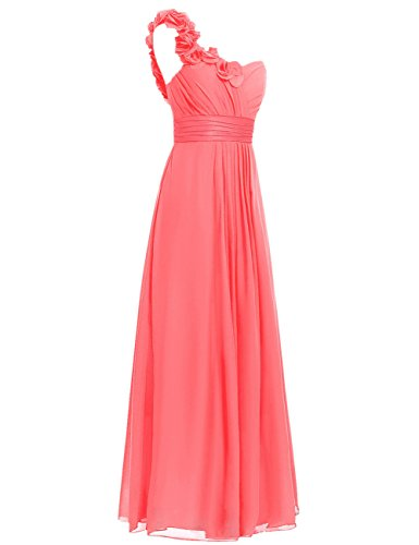 Party Prom Flowers Shoulder One Chiffon Long Cdress Dresses White Bridesmaid Appliques O8nzwqZ