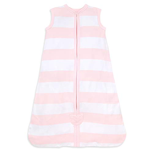 Burt's Bees Baby Baby Beekeeper Wearable Blanket, 100% Organic Cotton, Swaddle Transition Sleeping Bag, Rugby Stripe Blossom, Medium